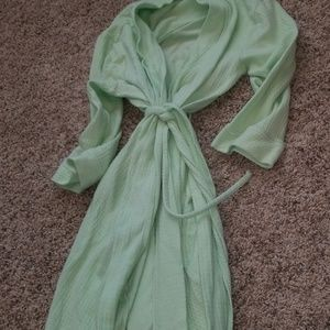 Lime/mint green robe.